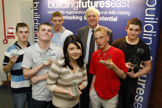 Leader of Newcastle City Council, Cllr. John Shipley OBE and Square One trainees